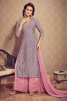 Grey Printed Kurti With Pink Embroidered Palazzo