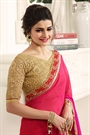 Pink and Orange Stunning Chiffon Saree