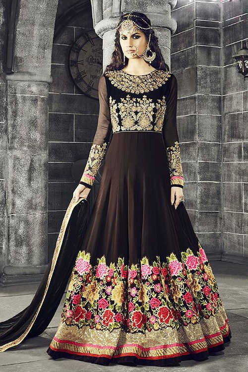 Safeena Pure Georgette Floor Length Anarkali With Heavy  Embroidery In Brown