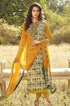Dixie Brown Pure  Georgette Printed Straight Salwar Suits