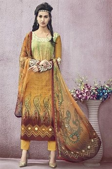 Orange Jinaam Pure Cotton Printed Straight Cut Bronze Color Lawn Suit