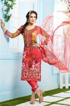 Beautiful Multicolor Red Casual Wear Printed Cotton Straight Cut Suit
