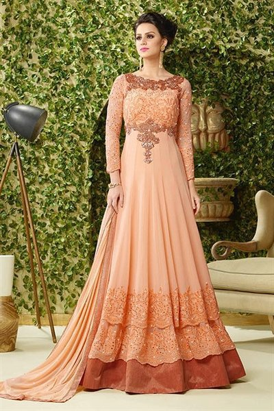 Peach Thread Embroidered Georgette Multilayered Long Anarkali Suit