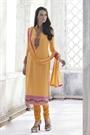 Ayka Designer Sunbaked Orange Thread Embroidered Georgette Straight Cut Churidar Suit