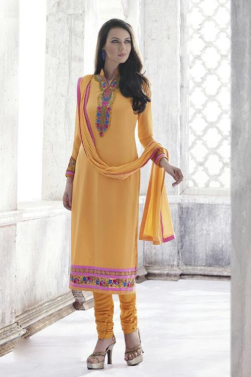 Ayka Designer Georgette Straight Cut Churidar Salwar Suits In Orange