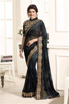Black Stunning Georgette Designer Saree