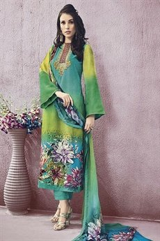 Green Jinaam Pure Cotton Printed Straight Cut Lawn Lime Green Color Suit
