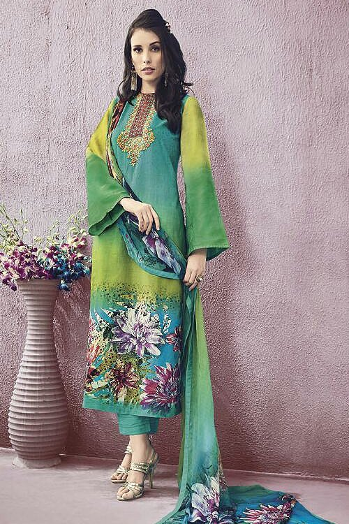 Lime Green Lawn Printed Straight Cut Salwar Suits